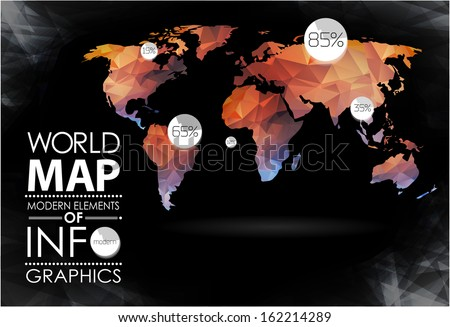 Modern elements of info graphics. World Map and typography - stock vector