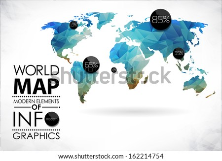 Modern elements info graphics world map stock vector 162214754 modern elements of info graphics world map and typography gumiabroncs Images