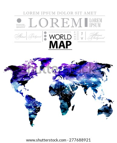 Modern elements of info graphics. World Map in cosmic style - stock vector