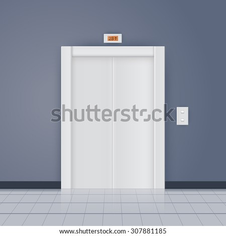 Modern elevator with closed doors. Vector illustration - stock vector