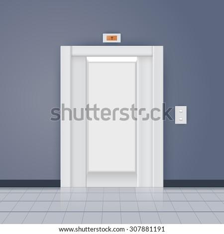 Modern elevator with open doors. Vector illustration - stock vector