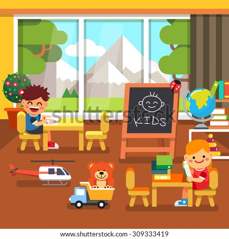 Modern elite kindergarten playroom with great mountains view in the window. Kids sitting and playing in the classroom. Flat style cartoon vector illustration with isolated objects. - stock vector