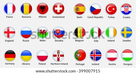 Modern ellipse icon symbols of of the participating countries to the final soccer tournament of Euro 2016 in france - stock vector