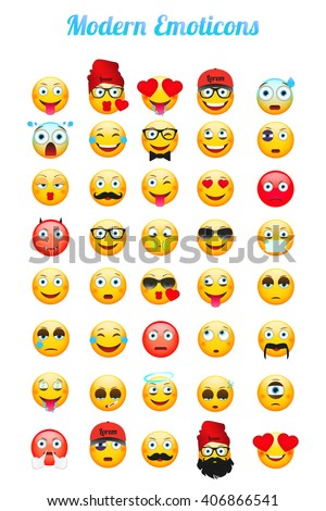 Modern Emoticons set. Emoticons vector illustration. Emoji isolated on white background. 40 Different Emoticons.  - stock vector