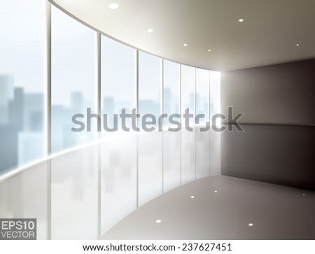 Modern empty office space with a city view. Realistic editable vector graphic. - stock vector