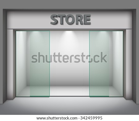 Modern Empty Store Front with Big Windows. Vector Illustration - stock vector