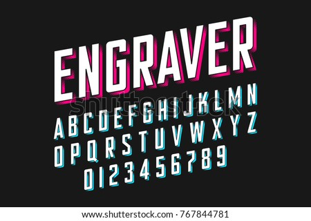 Modern engraved font vector illustration