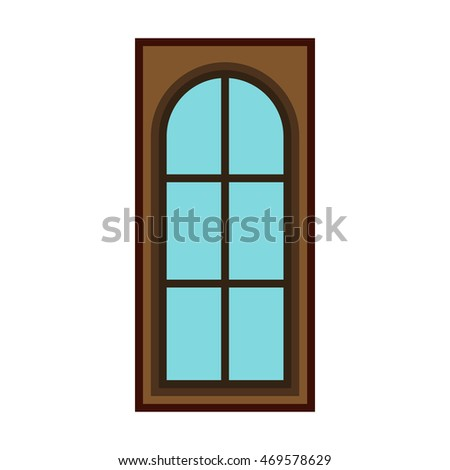 Modern entrance door for office, store, shop icon in flat style isolated on white background
