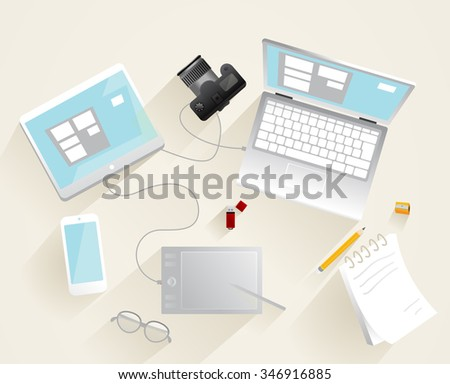 Modern equipment for retouching digital photo picture. - stock vector