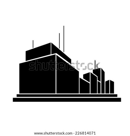 modern factory business office building, real estate silhouette icon - stock vector