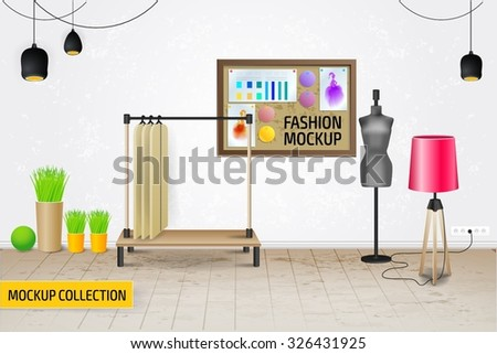 Modern Fashion workplace mockup template. - stock vector