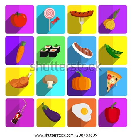 Modern fast food and vegetables vector icon set - stock vector