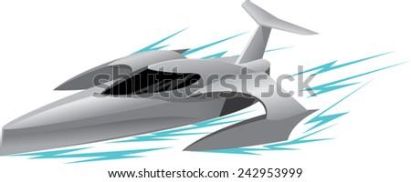 modern fast ship - stock vector