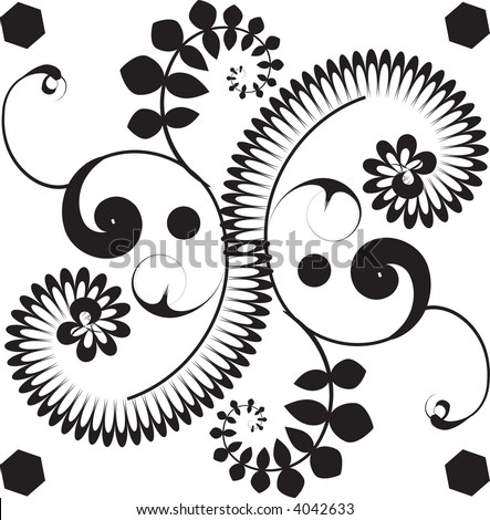 Modern, festive victorian scrollwork vector illustration. - stock vector
