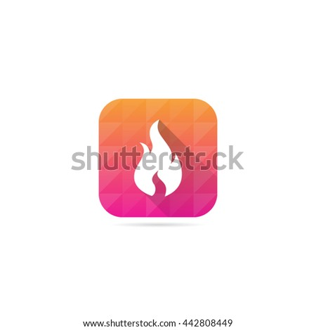 Modern Fire or Flame Icon With Long Shadow