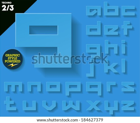 Modern flat alphabet for infographics with long ambient shadow. Techno  Blue Small case