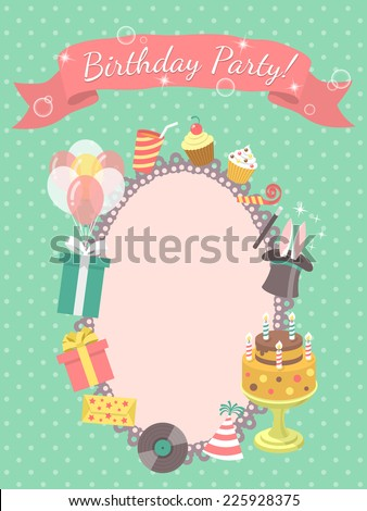 Modern flat birthday party invitation card with birthday symbols, such as gifts, balloons, birthday cake with candles, with inscription on a ribbon and blank space for text. Vector design. - stock vector