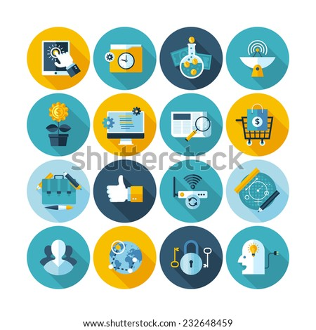 Modern flat circle icons vector collection with long shadow effect in stylish colors of web design objects, business, office and marketing items. Isolated on white background. - stock vector