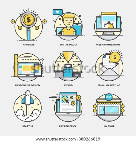 Modern flat color line designed concepts icons for Affiliate, Social Media, Web optimization, Responsive design, Award, Email marketing, Startup, Pay per click and My shop - stock vector