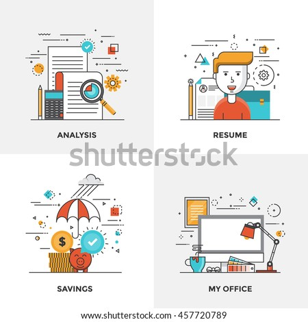 Modern flat color line designed concepts icons for Analysis, Resume, Savings and My Office. Can be used for Web Project and Mobile Platforms. Vector Illustration