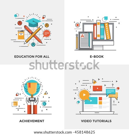 Modern flat color line designed concepts icons for Education for all, Ebook, Achievement and Video Tutorials. Can be used for Web Project and Mobile Platforms. Vector Illustration