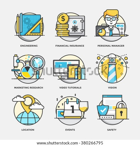 Modern flat color line designed concepts icons for Engineering, Financial Insurance, Personal Manager, Marketing Research, Video Tutorials, Vision. Can be used for Web Project and Applications - stock vector