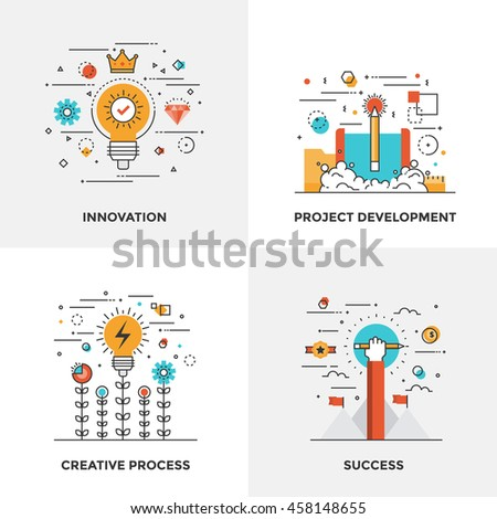 Modern flat color line designed concepts icons for Innovation, Project Development, Creative Process and Success. Can be used for Web Project and Mobile Platforms. Vector Illustration