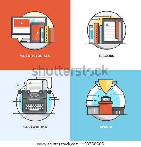Modern flat color line designed concepts icons for Video Tutorials, E-books, Copywriting and Award. Can be used for Web Project and Applications. Vector Illustration - stock vector