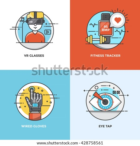 Modern flat color line designed concepts icons for VR Glasses, Fitness Tracker, Wired Gloves and Eye Tap. Can be used for Web Project and Applications. Vector Illustration - stock vector