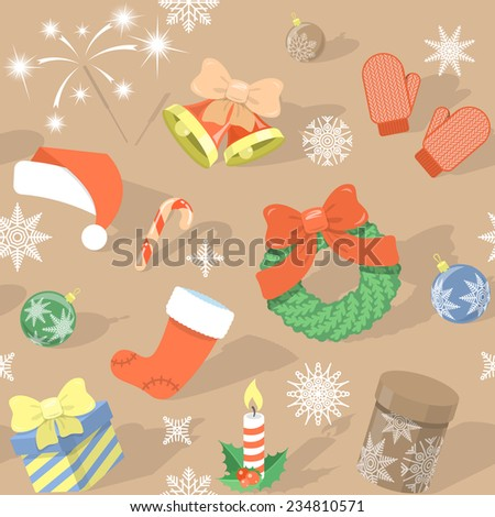 Modern flat colorful seamless holiday pattern with Christmas Symbols: Christmas bells, Santa cap, Christmas wreath, stocking, gift boxes, candle, Bengal light, Christmas balls, mittens, snowflakes etc - stock vector
