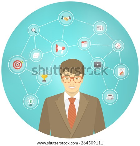 Modern flat conceptual illustration of ambitious young smiling businessman in a suit with icons of marketing, analytics, finance. New start up concept. Consulting service. Infographics design element - stock vector