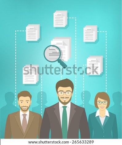 Modern flat conceptual illustration of human resources management, searching for perfect staff, analyzing resume, head hunting concept. Group of applicants of different genders in business suits - stock vector