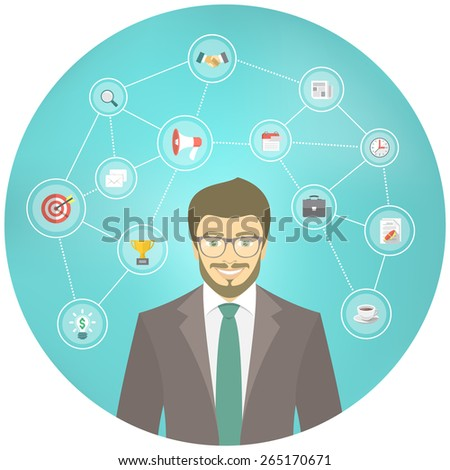 Modern flat conceptual illustration of young smiling hipster businessman in a suit with icons of marketing, analytics, finance. New start up concept. Consulting service. Infographics design element. - stock vector