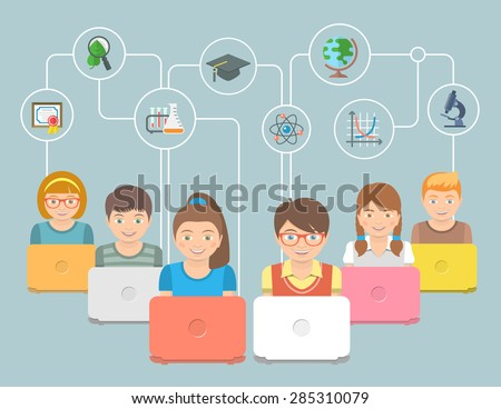 Modern flat conceptual vector illustration of group of kids with notebooks and education icons. Internet education innovative technology concept. Early education online program. E-learning concept - stock vector