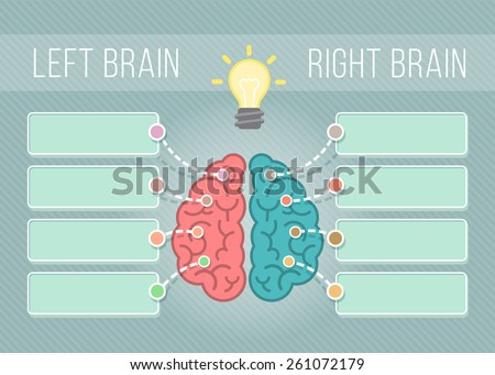 Modern flat conceptual vector illustration of left and right hemispheres of the brain with speech bubbles for text. Logical and creative functions of the brain. Infographics element - stock vector