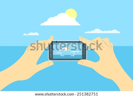 Modern flat conceptual vector illustration of taking a shot of a landscape by mobile phone. Human hands hold smart phone focused on skyline. Picture for memory during travel - stock vector