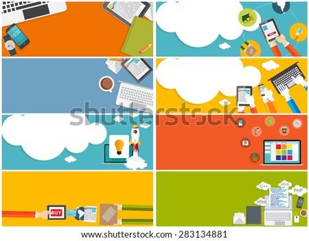 Modern Flat Design Banner Set for your Business Vector Illustration EPS10 - stock vector