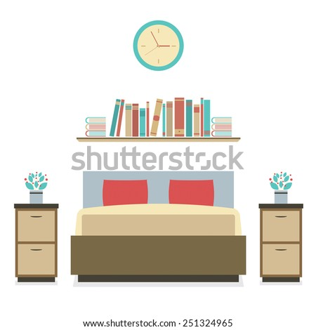 Modern Flat Design Bedroom Vector Illustration  - stock vector