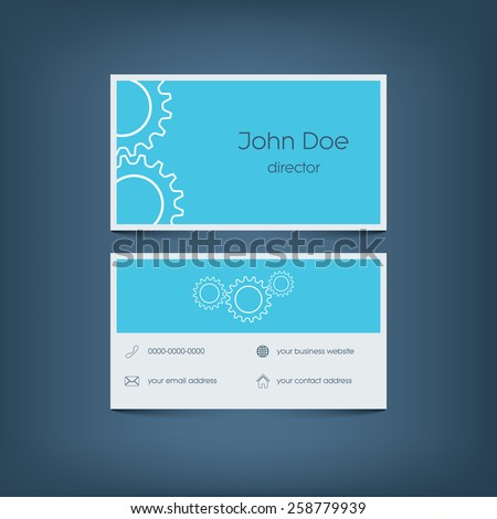 Modern flat design business card template. Graphic user interface with line icons for website, email contact, phone, mobile and home address. Eps10 vector illustration - stock vector
