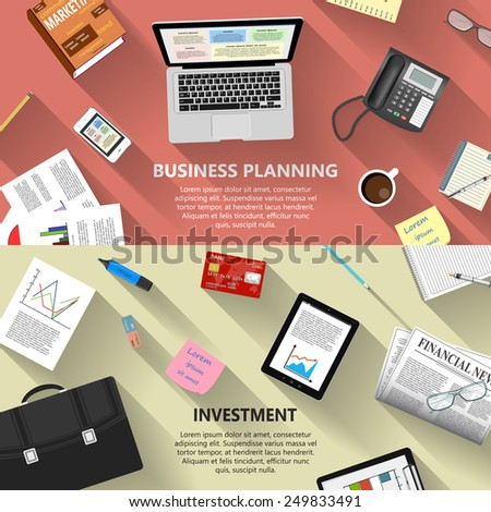 Modern flat design business planning and investment concept  for e-business, web sites, mobile applications, banners, corporate brochures, book covers, layouts etc. Vector eps10 illustration - stock vector