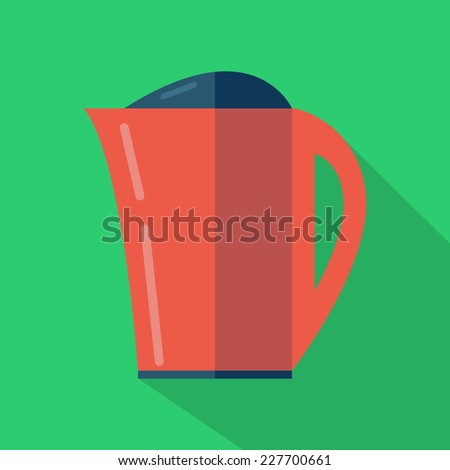 Modern flat design concept icon. Kettle tea and Coffee makers. Vector illustration. - stock vector