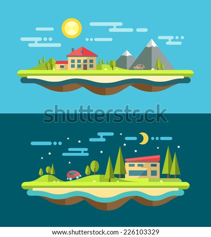 Modern flat design conceptual vector landscape illustration with buildings - stock vector