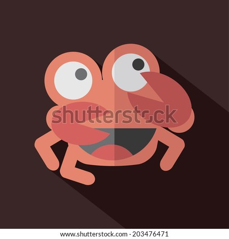 Modern Flat Design Crab Icon Vector Illustration - stock vector