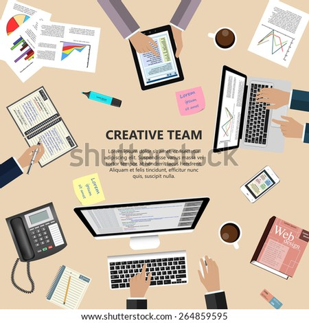 Modern flat design creative team concept for e-business, web sites, mobile applications, banners, corporate brochures, book covers, layouts etc. Vector eps10 illustration - stock vector