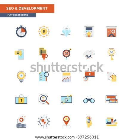 Modern flat design icons for Seo and Development. Icons for web and app design, easy to use and highly customizable. Vector - stock vector