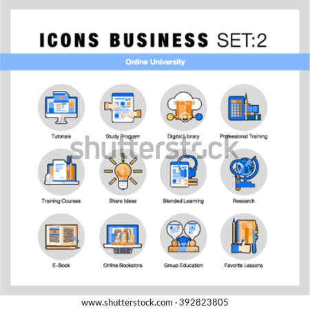 Modern flat design linear pictogram collection, line flat icons set of online university learning, group study, outline vector concept of stroke symbol pack, premium quality web material - stock vector