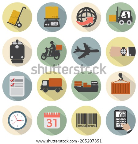 Modern Flat Design Logistics Icon Set Vector Illustration - stock vector