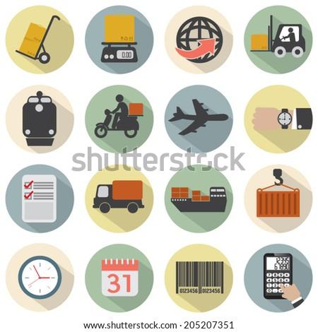 Modern Flat Design Logistics Icon Set Vector Illustration - stock vector