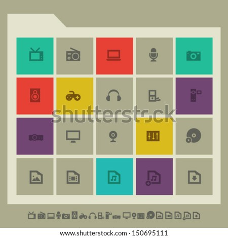 Modern flat design multimedia icons - stock vector