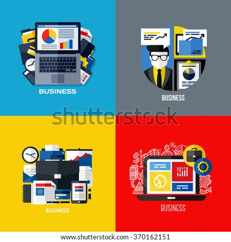 Modern flat design of business workflow organization, financial services for corporate business, office management process. Set of colorful vector illustration concepts - stock vector